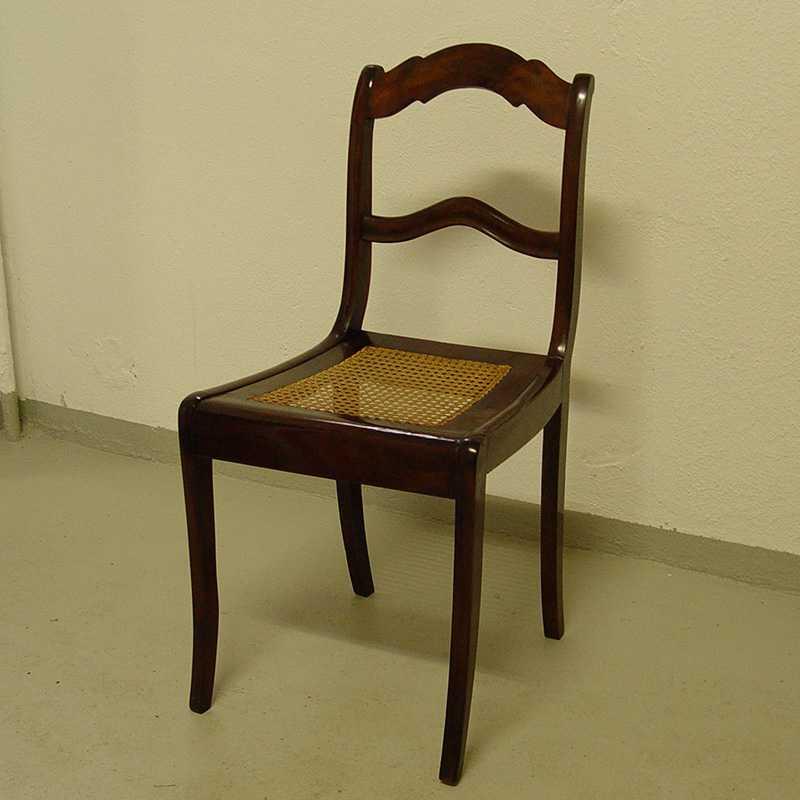 louis philippe stuhl geflecht nussbaum schellack 1187 ebay. Black Bedroom Furniture Sets. Home Design Ideas