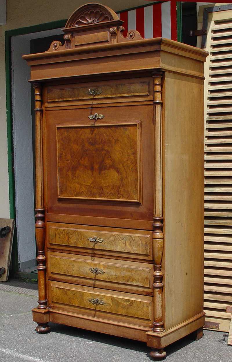 jugendstil sekret r schreibtisch nussbaum furniert um 1890 unrestauriert eur 990 00 picclick de. Black Bedroom Furniture Sets. Home Design Ideas
